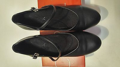 Capezio 550 Tap JR Footlight Black Size 8 Med With Box Great Condition