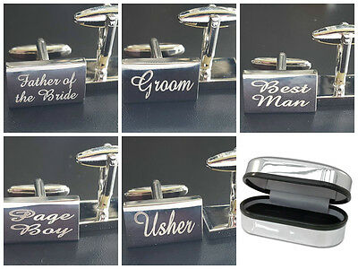 Silver Wedding Cufflinks Cuff Links Personalised Gift Groom Best Man usher F5LUX