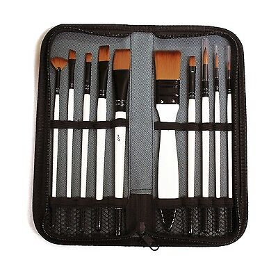 10 x Assorted Art & Craft Synthetic Paint Brushes Set in Zip Case Wallet