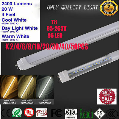 """20W LED G13 4ft Foot T8 Tube Light Lamp 48"""" Inch Bulbs 6500K Clear Frosted Lens#"""