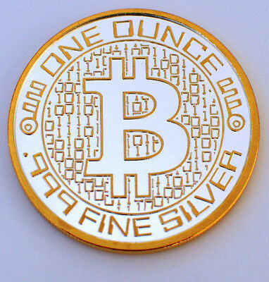 """1oz .999 FINE SILVER """"BITCOIN"""" ROUND With Gold Highlighted"""