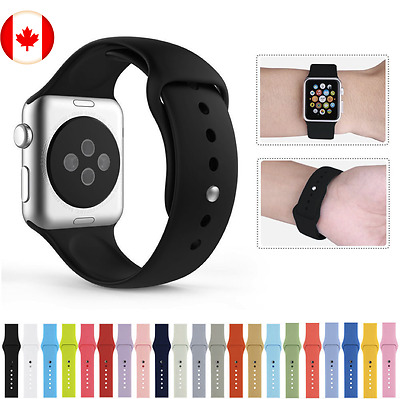 SILICONE RUBBER BAND/STRAP: Fits Apple Watch Series 1/2/3, 38mm & 42mm Sizes