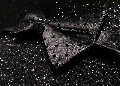 MADE TO ORDER Black Men's Bow Tie NEW Bling w/ Swarovski Crystals