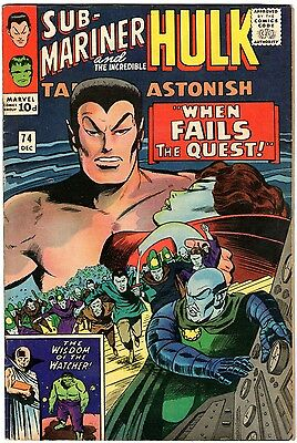 Tales To Astonish #74. Marvel Dec 1965. Sub-Mariner. Hulk. FN+