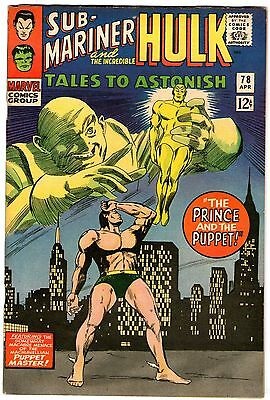 Tales To Astonish #78. Marvel Apr 1966. Sub-Mariner. Hulk. FN