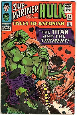 Tales To Astonish #79. Marvel May 1966. Sub-Mariner. Hulk. VG+/FN- Pence