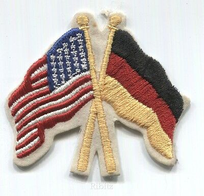US American & German crossed flags embroidered patch - ca 1982