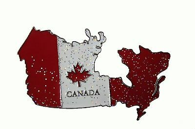 """CANADA Flag Country Shape Metal Fridge Magnet .. Size : 3.25"""" x 1.75"""" Inch"""
