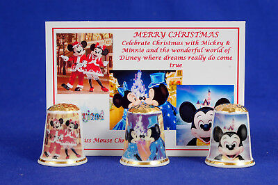 Merry Christmas With Mickey & Minnie 2017 Box Set of 3 Thimbles + Card B/185