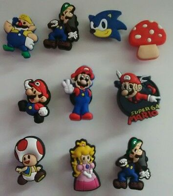 10 Super Mario & Sonic Shoe Charms Cupcake toppers Jibbitz Croc US Seller