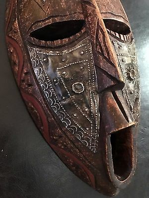 Hand Crafted African South American Mask Spiritual ANCIENT ALIENS Wall Art Wood