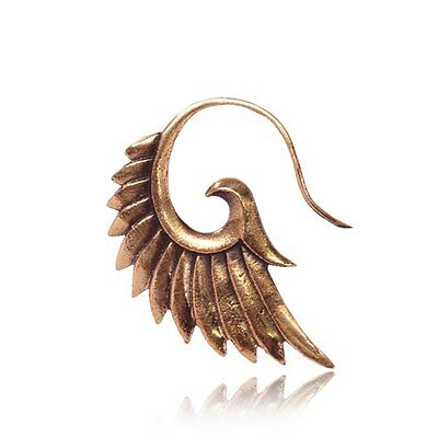 PAIR 18g ROSE BRASS FEATHER EARRINGS SPIRALS GAUGES COPPER TONE PLUGS PLUG GAUGE