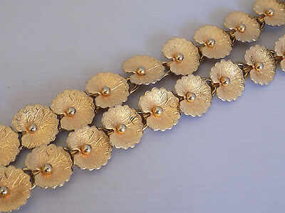 Vintage Gold Tone Leaf or Lily Pad Braclet Two Row Metal Mid Century