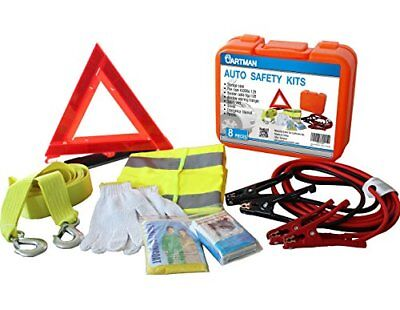Roadside Emergency Kit Set, Booster Cables 6Ga + Tow Belt 4500 Lbs in Carry Box