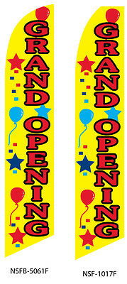 TWO Grand Opening (yellow) 15 foot Swooper Feather Flag Sign