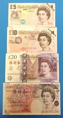 China Training Money Great Britain 5,10,20,50 Pounds 4 PCS, FREE SHIP