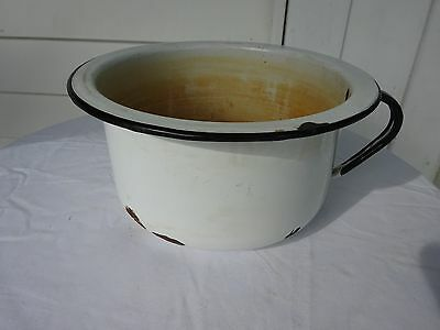 Enamel Ware Chamber Pot with Handle Rustic Rusty Primitive