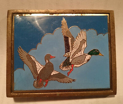 Vintage /Retro Brass & Enamel Belt Buckle -Flying Ducks - Waisted Belts -Hunting