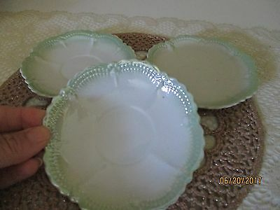 "Vintage Leuchtenburg China~ 3 Pcs, Saucers, Green & White Luster 4.25"" Diameter"