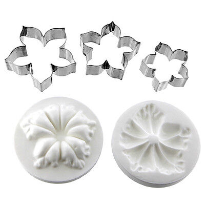 Petunia Flower Cutter Set of 3 and Silicone Veiner by Chef Alan Tetreault