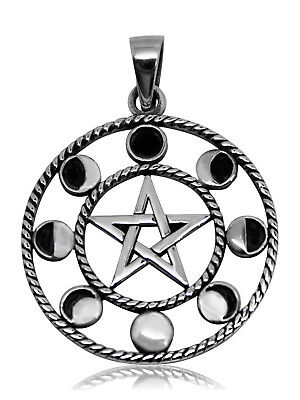 925 solid Sterling silver Pagan Wiccan Pentagram with 8 Moon phases pendant