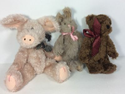 The Boyds Collection Stuffed Animals Grey Bunny Rabbit Brown Bear Pink Pig