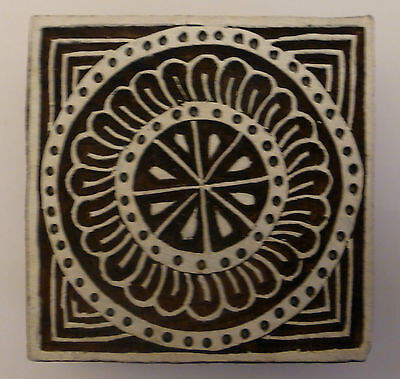 Square Shaped 7.5cm Indian Hand Carved Wooden Printing Block (SQ9)