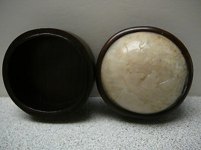 A fine Chinese white jade inset wood box and cover