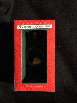 1988 Hallmark Miniature Ornament Country Wreath Bears