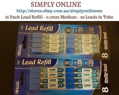 16 Pack Mechanical Pencil Refill Lead - HB 0.7 mm Lead - Stationery - School