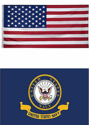 3' X 5' 3x5 USA American Flag US Navy Seal Crest United States WHOLESALE LOT #1
