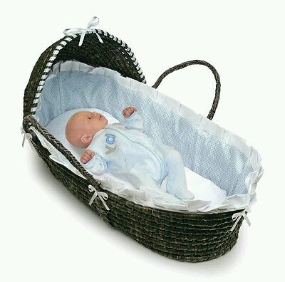 Baby Nursery Espresso Moses Basket Carrier with Hood - Blue Gingham Bedding