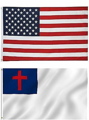 Wholesale LOT of 3' X 5' USA AMERICAN & Christian Religious Flag