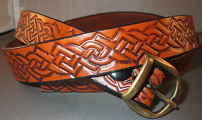"""1"""" antiqued brown belt, embossed  Celtic knots, brass buckle, will fit 40"""" waist"""