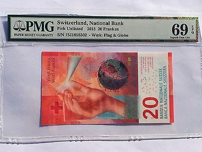 Switzerland, 2015 20 Franken PUnlisted PMG 69 EPQ