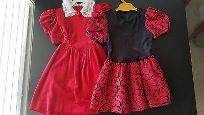Vintage 80's Girls Dress Lot Sz 5 & 6x Eve Too! Rare Editions Black Red Velour
