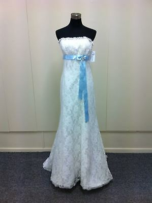 Strapless lace wedding gown with contrast blue band (was $1639) Ray w2460