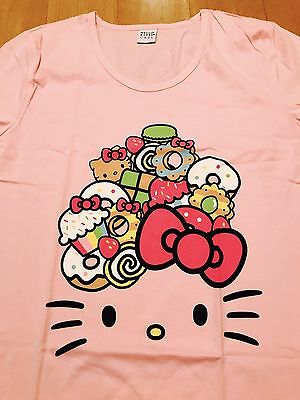 Women's Size XL Hello Kitty Cafe Pop-Up Store PINK T-Shirt NEW Rare