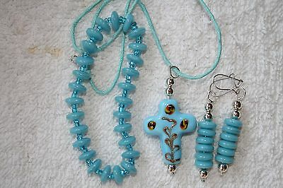 jewelry set earrings bracelet Turquoise art glass  cross necklace