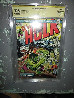 Incredible Hulk #180 Cgc 7.5 Ss Off-White Pages 1St Wolverine Signed Stan Lee