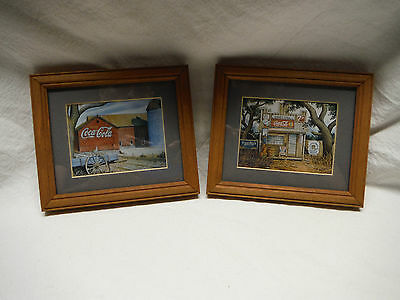 Lot Of 2 Coca Cola Framed Matted Advertising Prints Barn Junior's Place Store