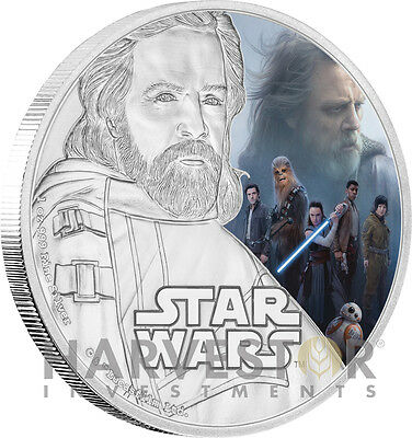 2017 Star Wars The Last Jedi - Luke Skywalker - 1 Oz. Silver Coin - Ogp Coa