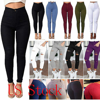 AU Stock Women High Waist Slim Skinny Pants Stretch Jeans Ripped Pencil Trousers