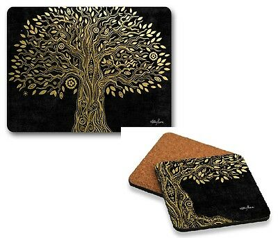 Set of 6 Wisdom Tree - Placemats and Coasters Cork Back