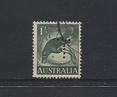 TASMANIA  1960s: lightly used 1/- Platypus w/official 5x5 hole T perfin (3665)