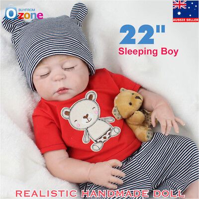 "HOT 22"" Handmade Realistic Reborn Boy Baby Doll Silicone Vinyl Newborn With Bear"
