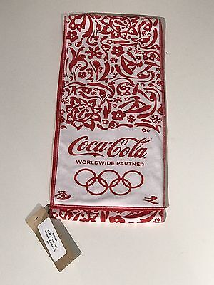 """Coca Cola World Wide Partner"" Olympics Reversible Scarf 67x6-3/4 Inches."