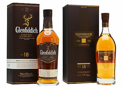 Glenfiddich 18 + Glenmorangie 18 Year Old Single Malt Scotch Whisky 2x 700ml
