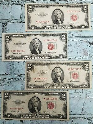 1953 $2 United States Note - Red Seal ( 4 ) Note Paper Money Collection