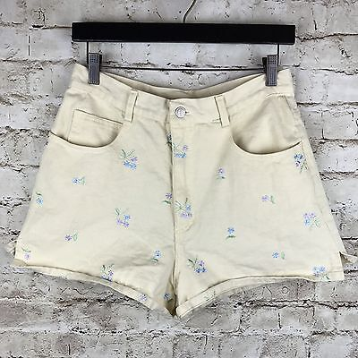 Vtg High Waist Denim Shorts Embroidered Flowers Yellow Enchante Collection Sz 11
